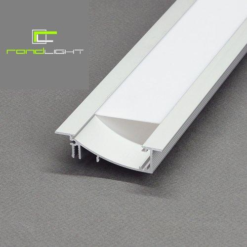 LED Profil FLAT-T ALU 2m eloxiert + weisse Blende