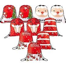 Whaline - 10 Bolsas de Navidad con cordón para Regalo, ...
