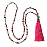 COAI Handgeknüpft 108 Vielfärbige Achatperlen Buddhistische Halskette Gebetskette für Damen/Herren