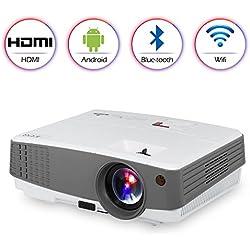 2018 Portable HD Bluetooth Wireless Airplay Projector para iPhone iPad Android,WiFi HDMI USB VGA AV Altavoces incorporados,LED LCD Smart Home Projector para películas Juegos DVD TV Outdoor
