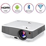 Portable HD Wireless Bluetooth Projector For IPhone IPad, WiFi Airplay HDMI USB VGA AV Built-in Speakers,LED LCD Android Video Projector 2600 Lumens For Movies Games Home Indoor Outdoor Party DVD
