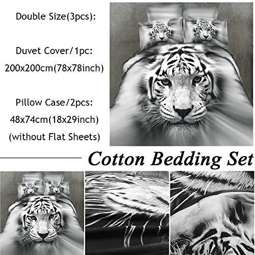 Juego de ropa de cama Tiger, juego de funda nórdica White Tiger 3D Juego de funda nórdica y edredón de edredón Juego de cama para niños y niñas