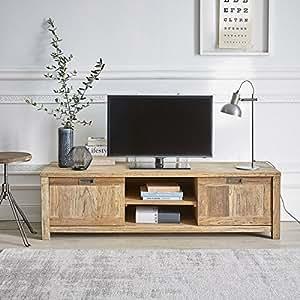 meuble tv en bois de teck recycle 160cm niches et portes cuisine maison. Black Bedroom Furniture Sets. Home Design Ideas