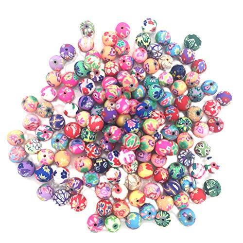 SUPVOX 50PCS 8mm Polímero Arcilla Flor Cuentas Redondas Perlas espaciadoras Decorativas para Hacer Joyas (Colores aleatorios)