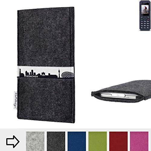 flat.design für bea-fon AL250 Schutzhülle Handy Tasche Skyline mit Webband München - Maßanfertigung der Schutztasche Handy Hülle aus 100% Wollfilz (anthrazit) für bea-fon AL250