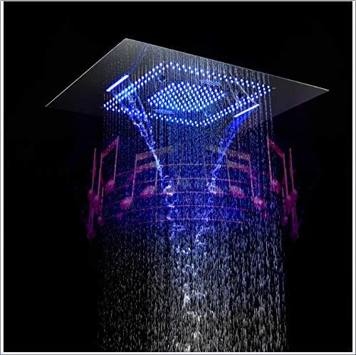 Musica LED Soffione doccia 800 * 600mm Cascata a pioggia Doccia a pioggia Bagno Doccia termostatica Rubinetti Unità Altoparlanti Docce,B