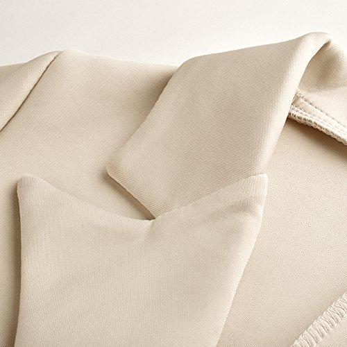 iBaste Blazer Donna Elegante Stile del Pannello Esterno Maniche Lunghe Giacca per Autunno e Primavera cachi