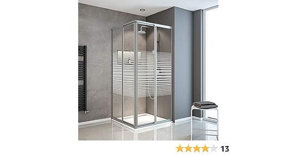 profil/és blancs d/écor rayures horizontales Acc/ès d/'angle extensible avec portes de douche coulissantes 75 verre de s/écurit/é 88 x 175 cm