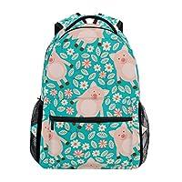 Hunihuni Pig Flower Pattern Durable Backpack College School Book Shoulder Bag Daypack for Boys Girls Man Woman