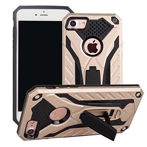 EKINHUI Case Cover Neue hybride Rüstung schützende rückseitige Abdeckung Shockproof Doppelschicht PC + TPU rückseitige Abdeckung mit Kickstand für iPhone 7 ( Color : Blue ) Gold