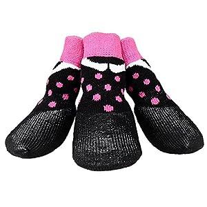 LA VIE 4 pcs Chaussettes à Revêtement en Caoutchouc Etanche Anti-dérapant Chaussures Chaussons Protection Contre Neige Pluie Convient aux tous les temps pour Chien Chiot 4 Tailles disponibles