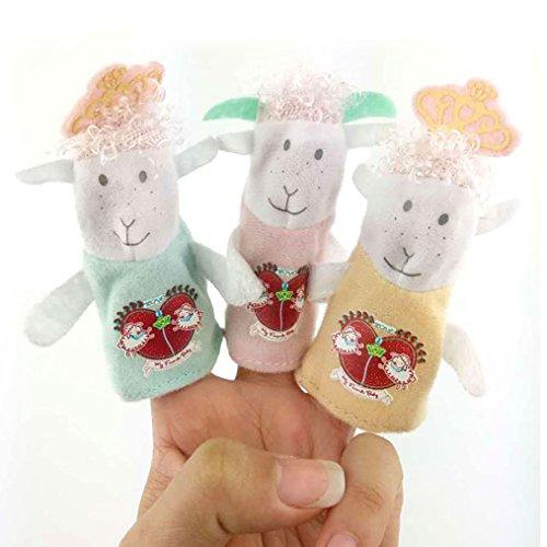 Amazemarket Bébé jouet Doux mouton famille farci Main fantoche accompagner apaiser Cognition animal Doux Jouer de bonne heure apprentissage 3 pcs/ensemble