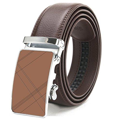 ITIEZY Echtes Leder Gürtelschnalle Automatik Gürtelschnalle (Gleitschnalle) Gurtband für Herren Designer braun Länge: Bis zu 49,21 (125cm) (Designer Herren Gürtel)