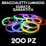 BRACCIALI BRACCIALETTI LUMINOSI FLUORESCENTI STARLIGHT GLOWSTICK DISCO GLOW STICK 200 PZ