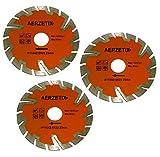 AERZETIX: 3x Disco de diamante turbo segmentado 115mm 22.2mm para amoladoras angulares de corte baldosas piedra hormigón C18203