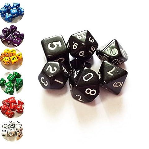 SmartDealsPro Set mit 7 Dungeons and Dragons DND RPG MTG Brettspiel Würfel - Pure Farbserie