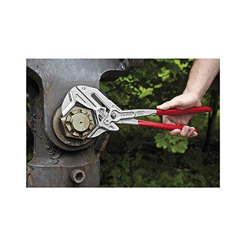 KNIPEX 86 03 250 Zangenschlüssel Zange und Schraubenschlüssel in einem Werkzeug verchromt mit Kunststoff überzogen 250 mm