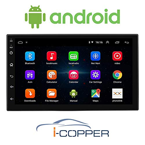 I-Copper Universal Android Infotainment System 7.0 inch Capacitive Touchscreen Double Din Car Stereo (Android 8.1) Car Player with Navigation/GPS/WiFi/Bluetooth Full HD 1080P 1GB RAM/16GB ROM