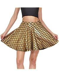 01fb4d12dd Hibote Falda básica de Mujer Falda Casual Mini Escamas de Pescado elástico  Falda ...