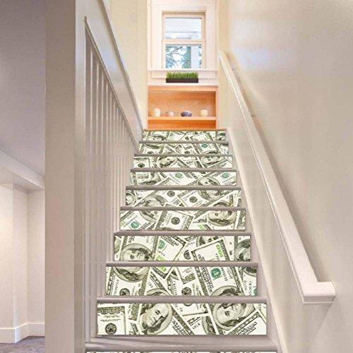 KKLOVEJ 3D Dollar Treppe Renoviert Aufkleber Kreativ Kombination PVC Wasserdicht Tapete Selbstklebend Wandgemälde Kunst Abziehbilder zum Wohnzimmer Dekoration , 1 Set 18 pcs , (Halloween Baum Dollar Dekoration)