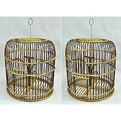 Jaula para aves de madera y bambú, artesanal, importada de Tailandia (12010)