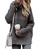 Damen Strickpullover Sweater Rollkragen Pullover Kuscheliger Jumper Strick Pulli Oversize Grau DE 42
