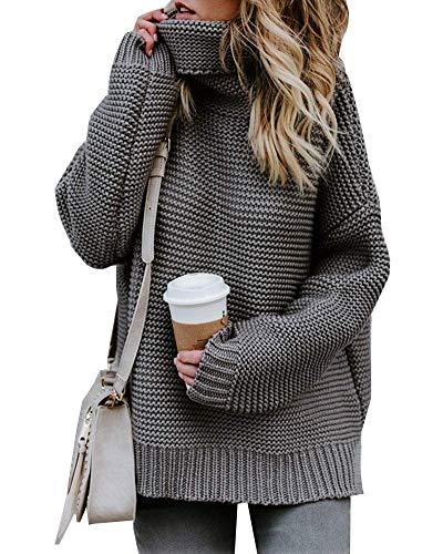 Damen Strickpullover Sweater Rollkragen Pullover Kuscheliger Jumper Strick Pulli Oversize Grau DE 36
