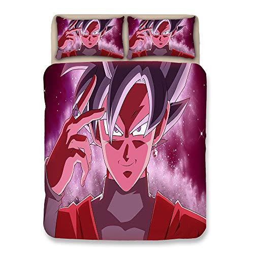 BULK 3 Stück Bettbezug-Set Dragonball Z Goku Super Saiyajin Drucken Kinder Baumwolle Bettwäsche-Sammlungen Schick Trösterdecke mit 1 Bettbezug 2 Kopfkissenbezüge, Kein Tröster,AUQueen -