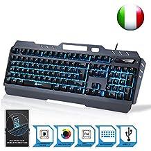 KLIM Lightning - Nuova - Tastiera semi-meccanica QWERTY Ibrida - Scelta di 7 Colori + Garanzia di 5 Anni - Struttura Metallica - Tastiera per Gaming Videogiochi - per PC Windows, Mac