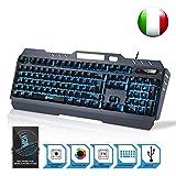 ⭐️KLIM Lightning – Neue 2018 Version – Hybrid Halbmechanische Tastatur QWERTY ITALY + Sieben Verschiedene Farben + 5-Jahre Garantie – Metallstruktur – Gamer Gaming-Tastatur für Videospiele PC PS4 Windows, Mac