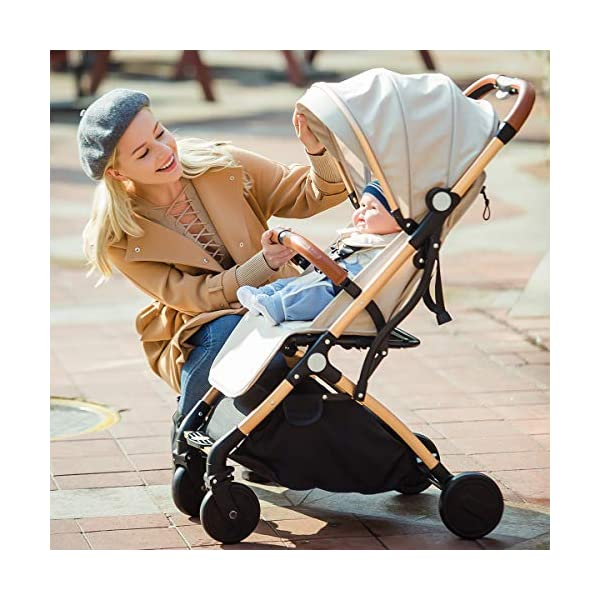 SONARIN Lightweight Stroller,Compact Travel Buggy,One Hand Foldable,Five-Point Harness,Great for Airplane(Khaki) SONARIN Size:Suitable from birth up to 15kg, length:66CM, width:48cm, height:98cm.Folding up:60CM*48CM*26CM. Great for Airplane,can be placed in any car boot. Safe:With sturdy aluminum alloy, compact body and five-point seat harness,each stroller has been pressure tested to provide security for each baby. Quality and Design:The backrest of the stroller supports sitting, half lying, lying,all three angles,lengthened and widened sleeping basket. Four wheel independent shock absorbing and built-in bearings make it smoother and quieter. 8