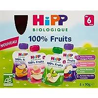 Hipp Biologique 100% Fruits Multipack 4 Varietes des 6 mois - 8 gourdes de 90 g - Lot de 4