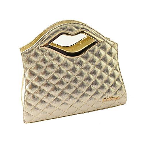 Molly Donna Lattice Modello Forma Labbro Maniglia Borsa A Tracolla Borsetta Oro