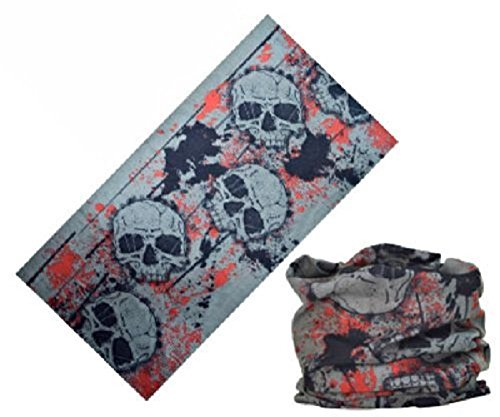 cmj-grey-skulls-face-mask-biker-balaclava-bandana-neck-tube-uk-seller