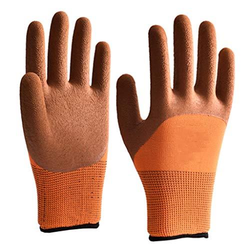 Qivor Multifunktions-Arbeitshandschuh-Beschichtungs-Arbeitshandschuhe for BAU-Erbauer-Gummi-Palmen-Baugerüst und Erbauer-Arbeitshandschuh-BAU-Latex-Gummi (Color : Orange) -