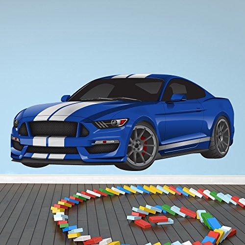 Preisvergleich Produktbild Blaues Sportwagen Wandaufkleber Rennauto Wandtattoo Jungen Schlafzimmer Haus Dekor Erhältlich in 8 Größen Groß Digital