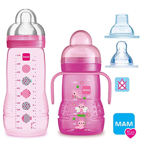 MAM Smart Set Girls a partire da 4 mesi // Baby Bottle Easy Active biberon 330 ml con tettarella misura 2 & MAM Trainer con tettarella misura 4 senza goccia & beccuccio morbido