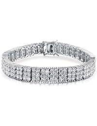 Bling Jewelry Sterling Silver 3 Row Classic CZ Tennis Bracelet