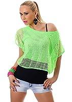 Damen Top Shirt Tanktop Ringertop Sommertop One-Shoulder Partytop double Doppel-Look Netz