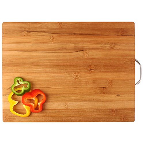 HOKIPO® Bamboo Chopping Board with Handle - LARGE - 40 x 30 x 1.8 cm