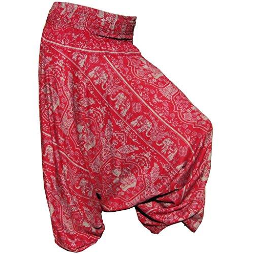 Panasiam Aladin Pants - Pantalones, diseño de elefantes, color natural - Ch2...