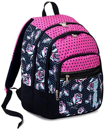 Zaino scuola fit seven , romantic , nero rosa , 28 lt , doppio scomparto , elementari e medie