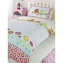 Set de sábanas para niños (algodón), mezcla de algodón, Búhos - rojo, azul, amarillo y verde, funda de edredón individual