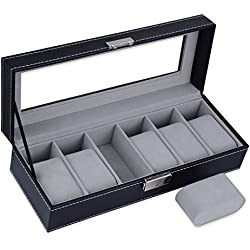 Elite99 Leather Jewelry Watch Display Box with Clear Glass Top and 6 Removable Storage Pillows