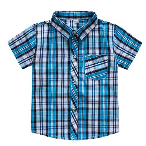DIASTR Sommer Kleinkind Jungen Mädchen Streifen Plaid Taschen T-Shirt Baby Unisex Karikatur Tops Kinder Jungs Freizeit Cartoon Einfarbig Drucken Shirt Baumwolle Hemd T-stücke -