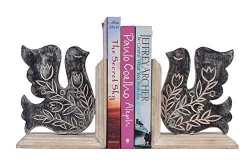 Store Indya, Lot de 2 Decorative main en bois sculpte avec Mango Oiseau Designs Terminer livre Support a fin Bookshelf Organizer Home Office Decor