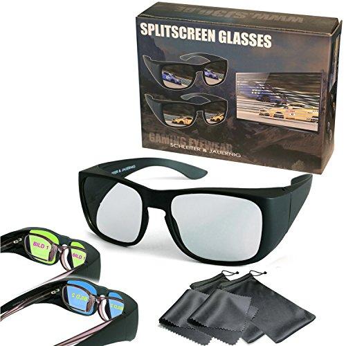 SJ3D 2 Spieler Splitscreen Gaming Brillen Überziehbrillen für Brillenträger oder ohne Brille Passiv Für LG Dual Play Philips Fullscreen Gaming Sony SimulView Grundig Dual Gaming Toshiba Für Gaming