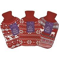 Volle Größe 2L Wärmflasche mit Strickbezug–Weihnachten Festive rot Weihnachten Hirsch/Rentier Schneeflocke preisvergleich bei billige-tabletten.eu