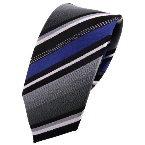 Blau Gestreiften Krawatte (Schmale TigerTie Krawatte - Tie Binder blau silber grau weiss schwarz gestreift)