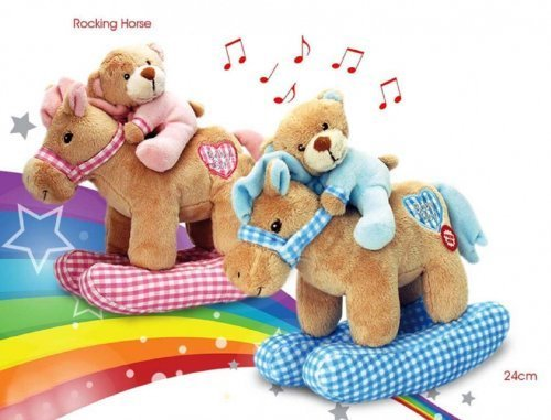 Kids Baby Girls Boys Musical Rocking Horse. Press on heart for music to play Soft Toys teddy bear Pink/Blue Ideal Gift Little Angles (Blue)